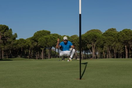 golf player aiming perfect  shot