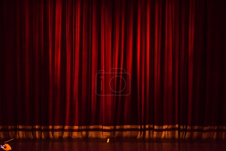 stage curtain or drapes red background