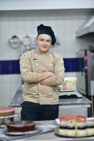 Chef preparing desert cakes