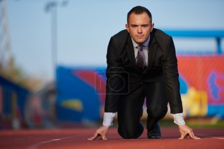 business man ready to sprint