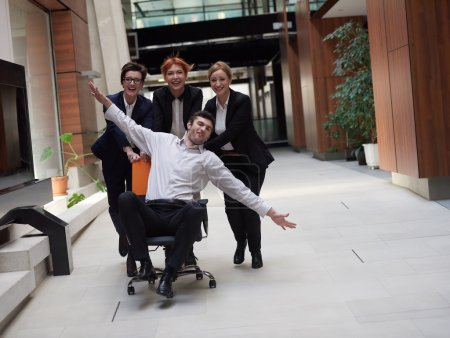 Group of business people having fun