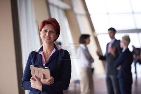 business woman at office with tablet
