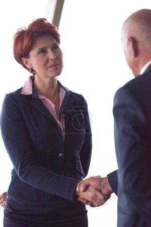 Handshake of business woman and man