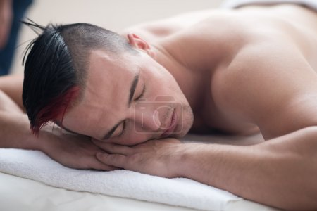 man having relaxing massage
