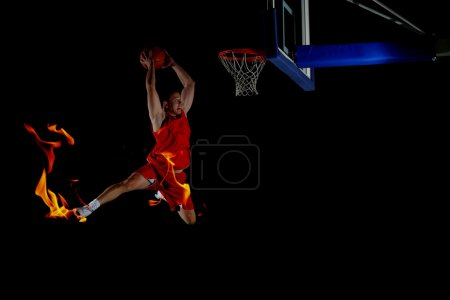 Double exposure of basketball player in action