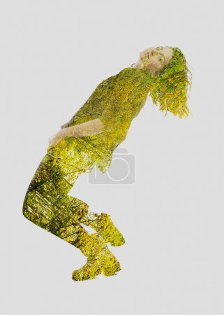 double exposure of nature and  young woman dancing