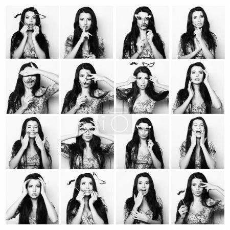 Photo pour Collage de femmes différentes expressions faciales. Image en noir et blanc . - image libre de droit