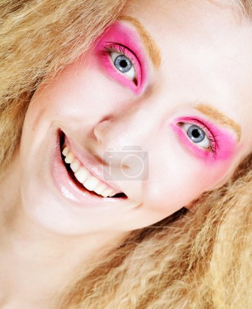 happy blond with pink make up