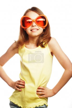 little girl with fun orange carnaval glasses