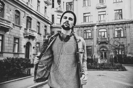 Hipster man portrait in black and white