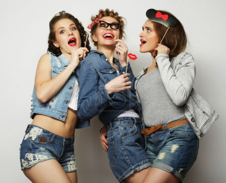 Photo for Life style and people concept: stylish girls best friends ready for party - Royalty Free Image