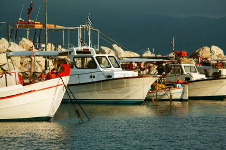 Fishing boats moored in port in Zante town, Greece
