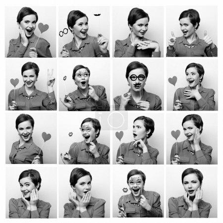 Photo pour Collage de femmes différentes expressions faciales. Prêt pour la fête . - image libre de droit