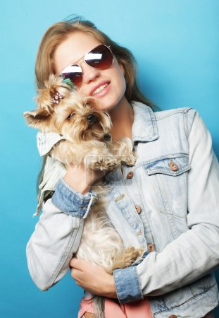 teenage girl with Yorkshire Terrier