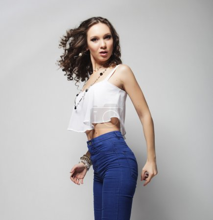 fashion model with curly hair