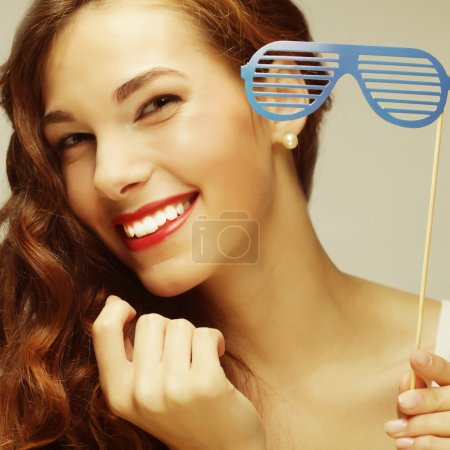 Photo for Party image. Playful young women holding a party glasses. Ready for good time. - Royalty Free Image