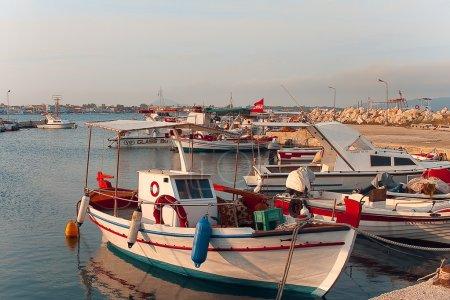 Fishing boats moored in port in Zante town, Greece