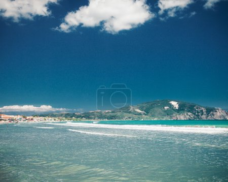 beach summer with clouds and blue sky