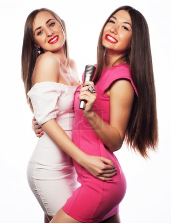 sensual girls singing with microphone