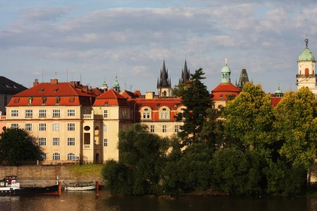View of monuments from the river in Prague.