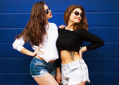 Two young girlfriends in sunglasses having fun.