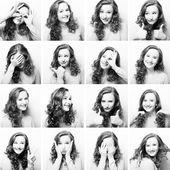 žena provádějící různé výrazy s obličejem