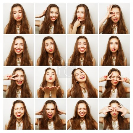 Collage of portraits of  happy woman