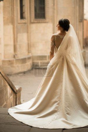 Beauty woman bride in white amazing wedding dress