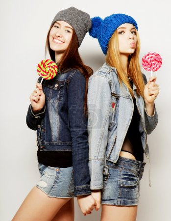 two young hipster girls best friends