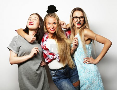Photo for Happy time. Stylish sexy hipster girls best friends ready for party. - Royalty Free Image