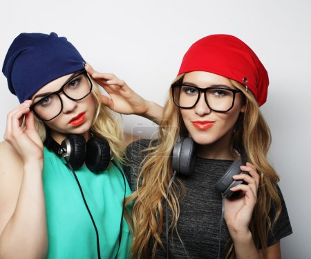 Two best friends hipster girls