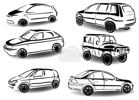 Illustration pour Illustration avec ensemble de différentes voitures isolées sur fond blanc - image libre de droit