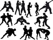 fighters silhouettes set