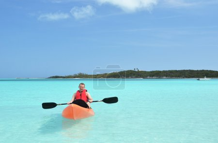 Man Kayaking at Bahamas