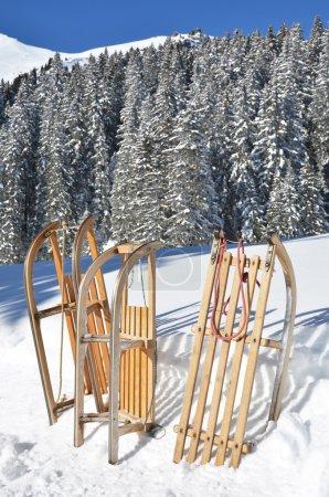 Sledges against snowy Alps