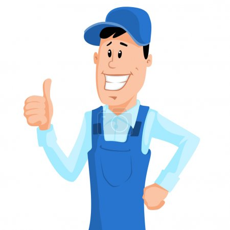 Illustration for Cute cartoon worker in blue workwear show thumb up. Vector illustration. - Royalty Free Image