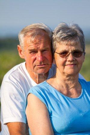 Elderly seniors couple in outdoors