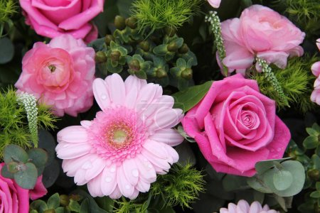 Photo for Bridal decorations: roses and gerberas in pink and green decorations - Royalty Free Image