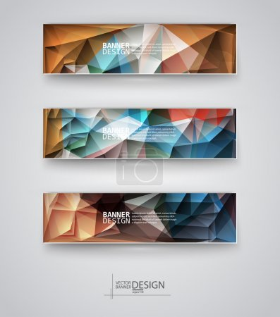 Illustration for Business design templates. Set of Banners with Multicolored Polygonal Mosaic Backgrounds. Geometric Triangular Abstract Modern Vector Illustration. - Royalty Free Image
