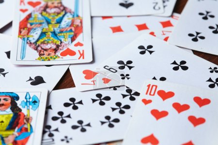 game cards on wooden table