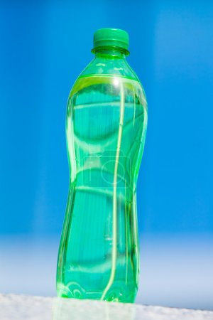 water in the bottle on background