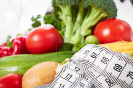 vegetables set with measuring tape