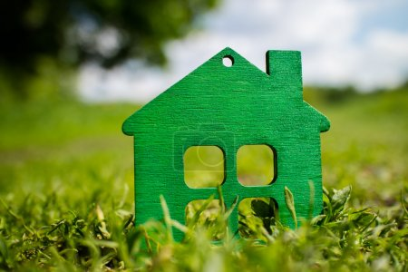 Photo for Wooden house on green grass close up - Royalty Free Image