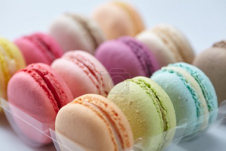 Photo for Close-up tasty colorful macaroons on light background - Royalty Free Image