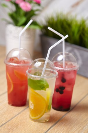 Photo for Close-up cold organic summer drinks cocktails - Royalty Free Image