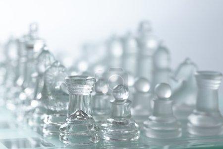 White glass chess