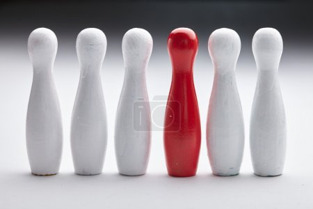 Red bowling pin leader
