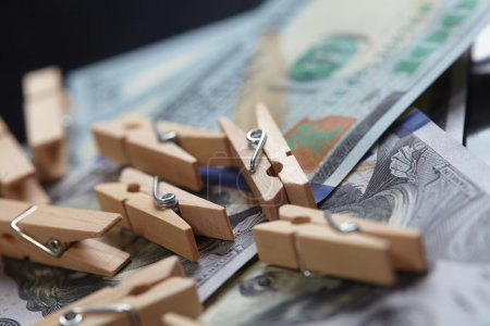 clothespins with dollars concept