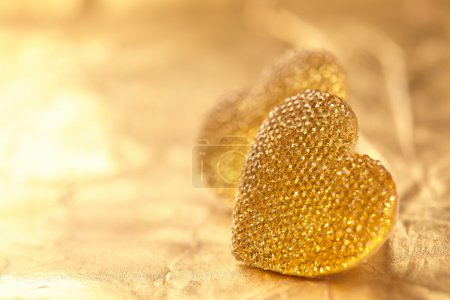 Photo for Valentine's day concept  on golden background - Royalty Free Image