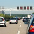 Cars in traffic jam on highway, in Germany...